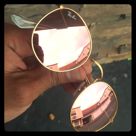 Ray-Ban Accessories   Ray Ban Rb3447 Round Metal 112z2 Pink Mirror ... 52c1ede980